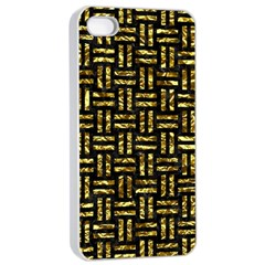 Woven1 Black Marble & Gold Foil Apple Iphone 4/4s Seamless Case (white) by trendistuff