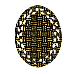Woven1 Black Marble & Gold Foil Ornament (oval Filigree) by trendistuff
