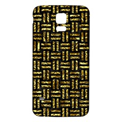 Woven1 Black Marble & Gold Foil Samsung Galaxy S5 Back Case (white) by trendistuff