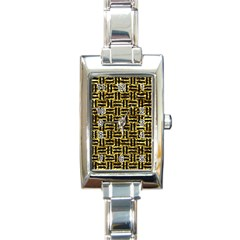 Woven1 Black Marble & Gold Foil (r) Rectangle Italian Charm Watch by trendistuff