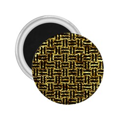 Woven1 Black Marble & Gold Foil (r) 2 25  Magnets by trendistuff