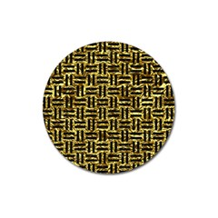 Woven1 Black Marble & Gold Foil (r) Magnet 3  (round) by trendistuff
