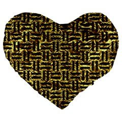 Woven1 Black Marble & Gold Foil (r) Large 19  Premium Flano Heart Shape Cushions by trendistuff