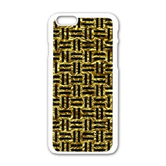 Woven1 Black Marble & Gold Foil (r) Apple Iphone 6/6s White Enamel Case by trendistuff