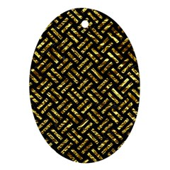 Woven2 Black Marble & Gold Foil Ornament (oval) by trendistuff