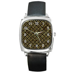 Woven2 Black Marble & Gold Foil Square Metal Watch by trendistuff