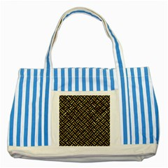 Woven2 Black Marble & Gold Foil Striped Blue Tote Bag by trendistuff