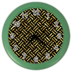 Woven2 Black Marble & Gold Foil Color Wall Clocks by trendistuff