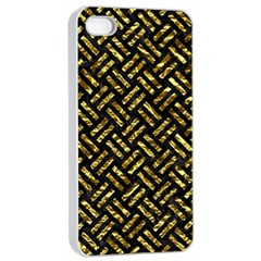 Woven2 Black Marble & Gold Foil Apple Iphone 4/4s Seamless Case (white) by trendistuff