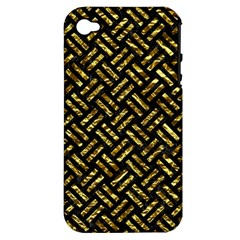 Woven2 Black Marble & Gold Foil Apple Iphone 4/4s Hardshell Case (pc+silicone) by trendistuff