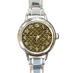 Woven2 Black Marble & Gold Foil (r) Round Italian Charm Watch by trendistuff