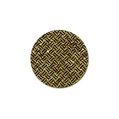 Woven2 Black Marble & Gold Foil (r) Golf Ball Marker by trendistuff