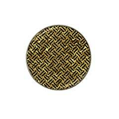 Woven2 Black Marble & Gold Foil (r) Hat Clip Ball Marker by trendistuff