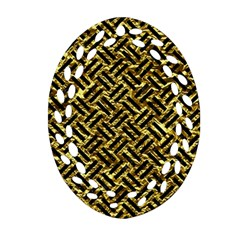Woven2 Black Marble & Gold Foil (r) Oval Filigree Ornament (two Sides)