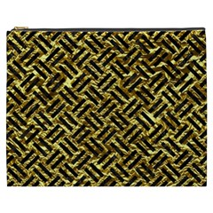 Woven2 Black Marble & Gold Foil (r) Cosmetic Bag (xxxl)  by trendistuff