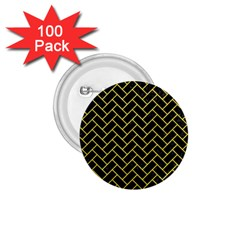 Brick2 Black Marble & Gold Glitter 1 75  Buttons (100 Pack)  by trendistuff