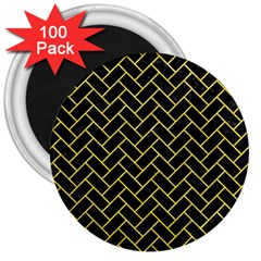 Brick2 Black Marble & Gold Glitter 3  Magnets (100 Pack) by trendistuff
