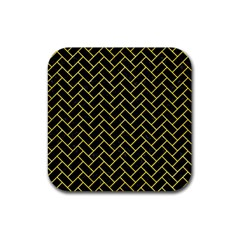 Brick2 Black Marble & Gold Glitter Rubber Square Coaster (4 Pack)  by trendistuff