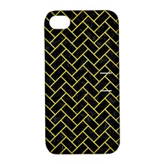 Brick2 Black Marble & Gold Glitter Apple Iphone 4/4s Hardshell Case With Stand by trendistuff
