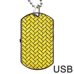Brick2 Black Marble & Gold Glitter (r) Dog Tag Usb Flash (one Side) by trendistuff