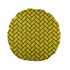 Brick2 Black Marble & Gold Glitter (r) Standard 15  Premium Round Cushions by trendistuff