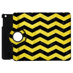 Chevron3 Black Marble & Gold Glitter Apple Ipad Mini Flip 360 Case by trendistuff