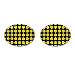Circles1 Black Marble & Gold Glitter Cufflinks (oval) by trendistuff