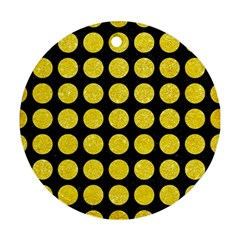Circles1 Black Marble & Gold Glitter Round Ornament (two Sides) by trendistuff