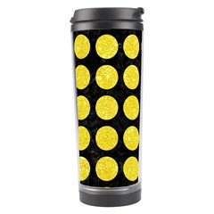 Circles1 Black Marble & Gold Glitter Travel Tumbler by trendistuff