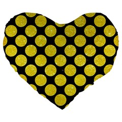Circles2 Black Marble & Gold Glitter Large 19  Premium Heart Shape Cushions by trendistuff