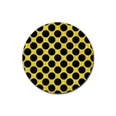 Circles2 Black Marble & Gold Glitter (r) Rubber Coaster (round)