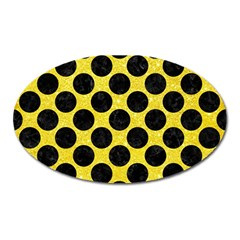 Circles2 Black Marble & Gold Glitter (r) Oval Magnet by trendistuff