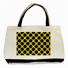 Circles2 Black Marble & Gold Glitter (r) Basic Tote Bag by trendistuff