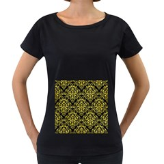 Damask1 Black Marble & Gold Glitter Women s Loose Fit T Shirt (black) by trendistuff