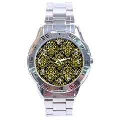 Damask1 Black Marble & Gold Glitter Stainless Steel Analogue Watch by trendistuff