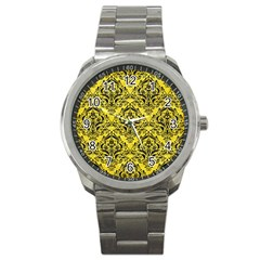 Damask1 Black Marble & Gold Glitter (r) Sport Metal Watch by trendistuff