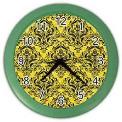 Damask1 Black Marble & Gold Glitter (r) Color Wall Clocks by trendistuff