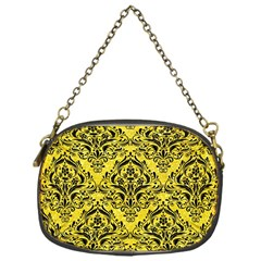 Damask1 Black Marble & Gold Glitter (r) Chain Purses (one Side)  by trendistuff