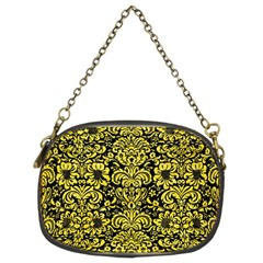 Damask2 Black Marble & Gold Glitter Chain Purses (two Sides)  by trendistuff