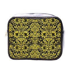 Damask2 Black Marble & Gold Glitter Mini Toiletries Bags by trendistuff
