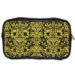 Damask2 Black Marble & Gold Glitter Toiletries Bags 2 Side by trendistuff