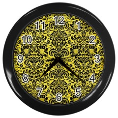 Damask2 Black Marble & Gold Glitter (r) Wall Clocks (black) by trendistuff