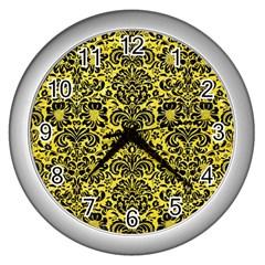 Damask2 Black Marble & Gold Glitter (r) Wall Clocks (silver)