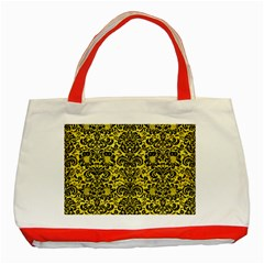 Damask2 Black Marble & Gold Glitter (r) Classic Tote Bag (red) by trendistuff