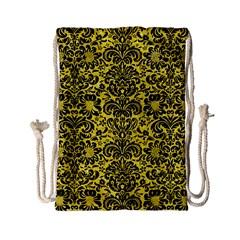 Damask2 Black Marble & Gold Glitter (r) Drawstring Bag (small) by trendistuff