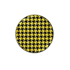 Houndstooth1 Black Marble & Gold Glitter Hat Clip Ball Marker (4 Pack) by trendistuff