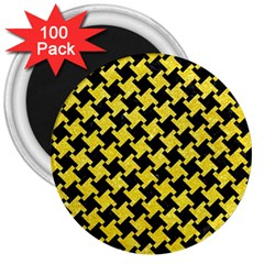 Houndstooth2 Black Marble & Gold Glitter 3  Magnets (100 Pack)