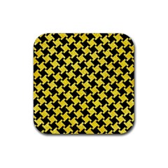 Houndstooth2 Black Marble & Gold Glitter Rubber Square Coaster (4 Pack)  by trendistuff