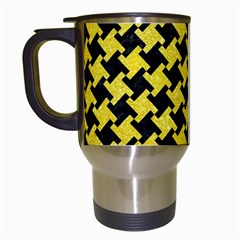 Houndstooth2 Black Marble & Gold Glitter Travel Mugs (white) by trendistuff