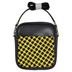 Houndstooth2 Black Marble & Gold Glitter Girls Sling Bags by trendistuff